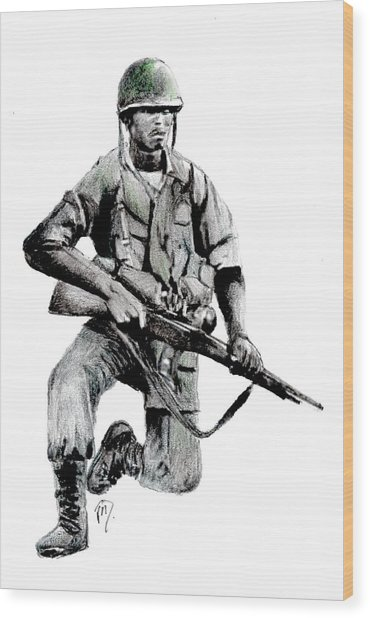 Vietnam Infantry Man Wood Print