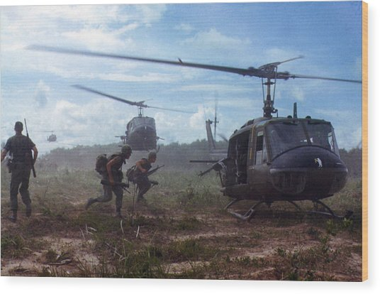 Vietnam War, Uh-1d Helicopters Airlift Wood Print