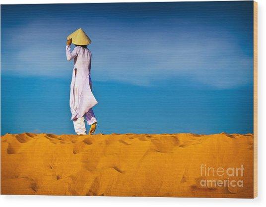 Vietnamese Woman In The Red Sand Dunes Mui Ne Vietnam Wood Print