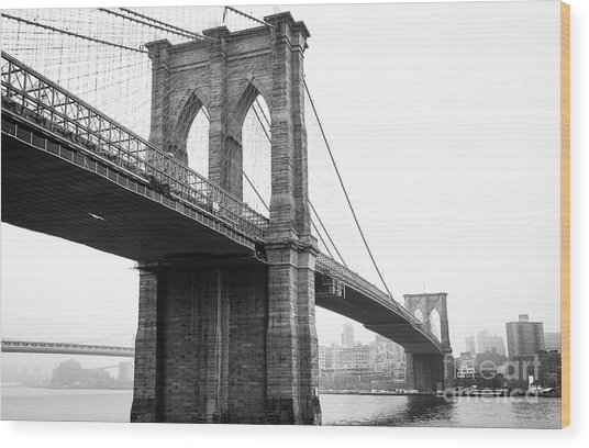 View Brooklyn Bridge With Foggy City In The Background Wood Print