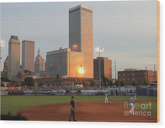 View From 3rd Base Wood Print