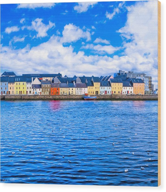 Wood Print featuring the photograph View From Claddagh Quay - Galway by Mark E Tisdale