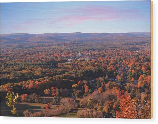 View From Mount Tom In Easthampton, Ma Wood Print