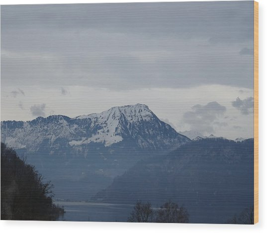 View From My Art Studio - Stanserhorn - March 2018 Wood Print