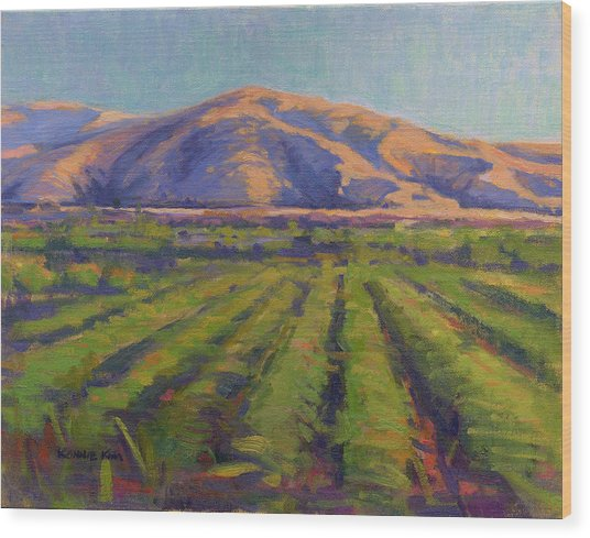 Wood Print featuring the painting View From The Train by Konnie Kim