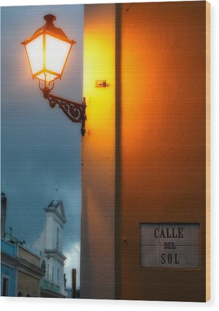 View Of A Lit Old Street Lamp Calle Del Sol Puerto Rico Wood Print by George Oze