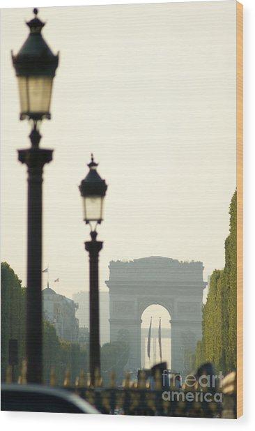 View Of Arc De Triomphe Wood Print