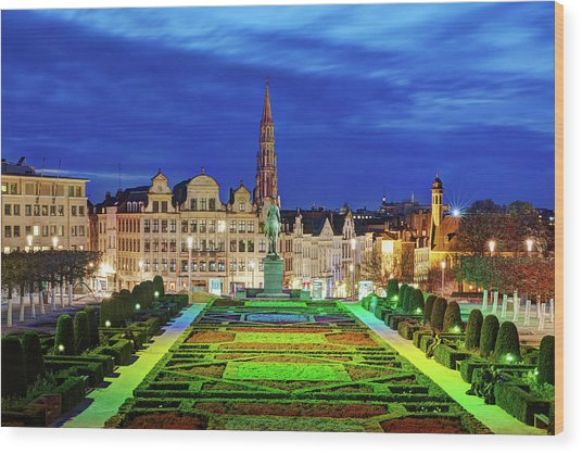 Wood Print featuring the photograph View Of Brussels From Jardin Du Mont Des Arts by Barry O Carroll