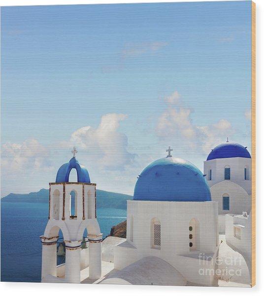 Caldera  Of Santorini Wood Print