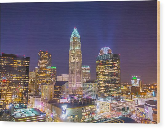 View Of Charlotte Skyline Aerial At Sunset Wood Print