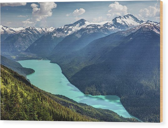 Wood Print featuring the photograph View Of Cheakamus Lake From The High Note Trail by Pierre Leclerc Photography