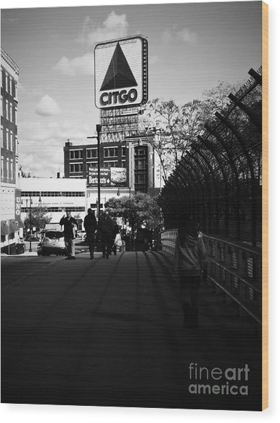 View Of Citgo Sign From David Ortiz Bridge, Boston, Massachusetts Wood Print