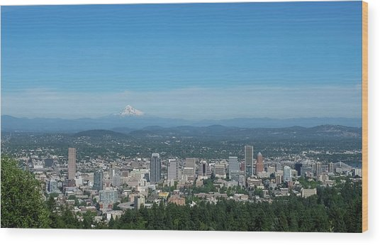 View Of Downtown Portland Oregon From Pittock Mansion Wood Print