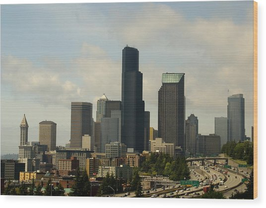 View Of Downtown Wood Print by Sonja Anderson