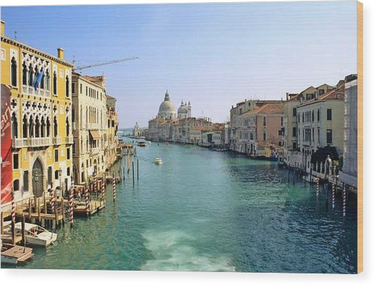View Of Grand Canal In Venice From Accadamia Bridge Wood Print by Michael Henderson