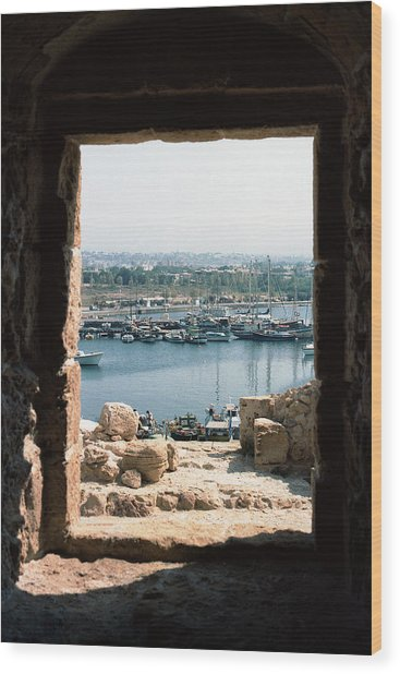 View Of Paphos Harbor Via Castle Window Wood Print