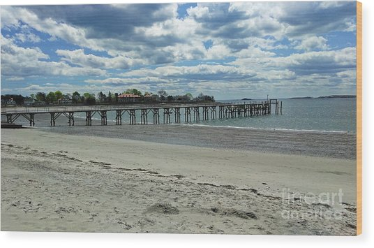 View Of Pier. Fisherman's Beach, Swampscott, Ma Wood Print