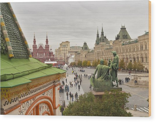 View Of Red Square In Moscow Wood Print