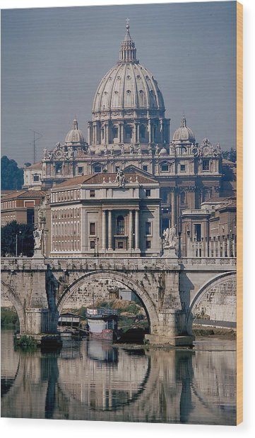 View Of St Peters From Tiber River Wood Print by Carl Purcell