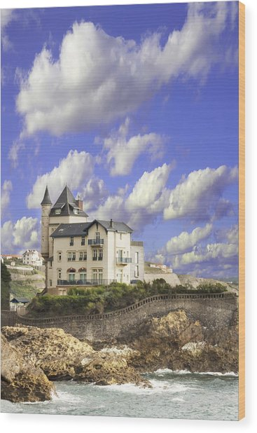 View Of The Beautiful Castle On The Bay Of Biscay Of The Atlantic Ocean Wood Print