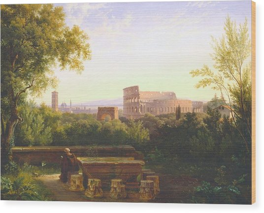 View Of The Colosseum From The Orti Farnesiani Wood Print