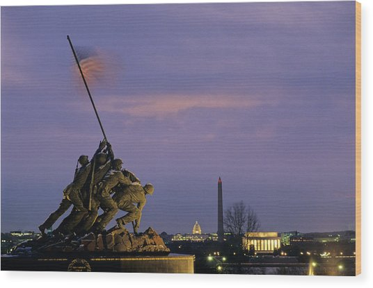 View Of The Iwo Jima Monument Wood Print