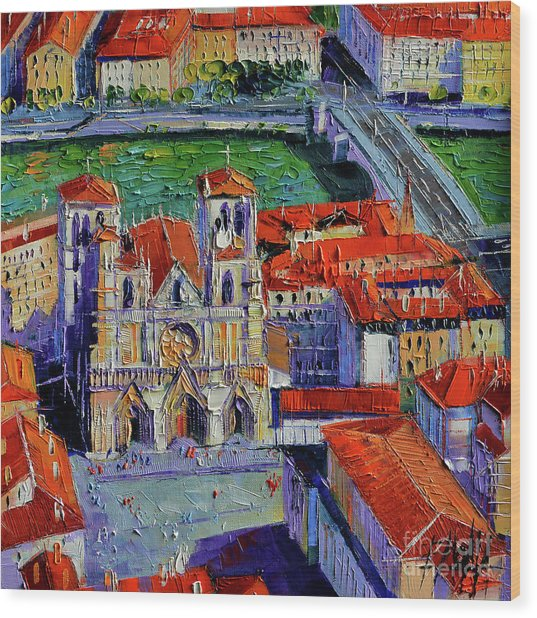 View Over Cathedral Saint Jean Lyon Wood Print