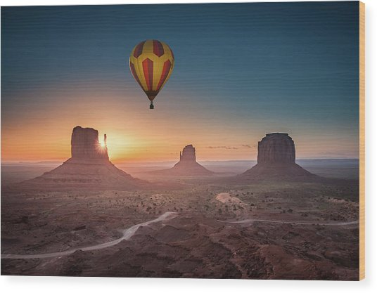 Viewing Sunrise At Monument Valley Wood Print