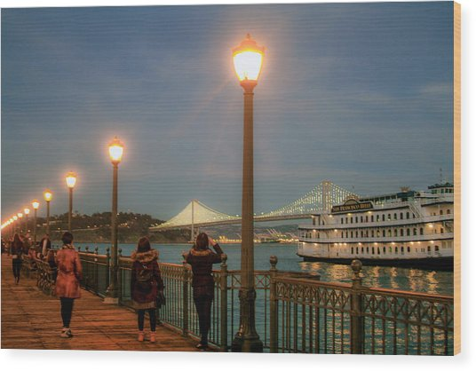 Viewing The Bay Bridge Lights Wood Print