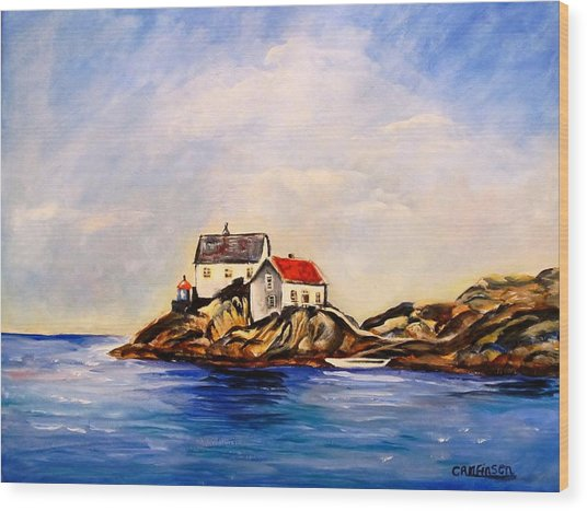 Vikeholmen Lighthouse Wood Print