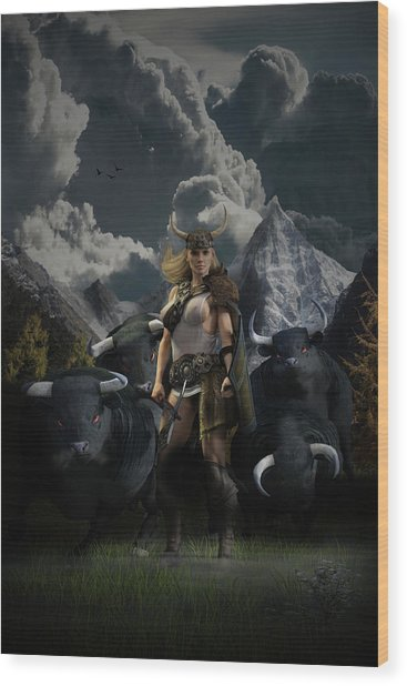 Viking Gefjon Wood Print