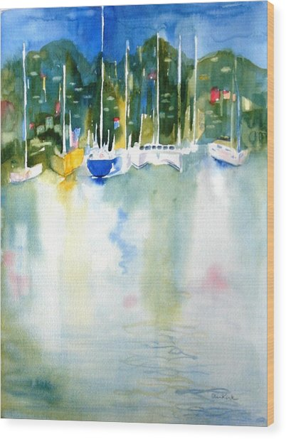 Village Cay Reflections Wood Print