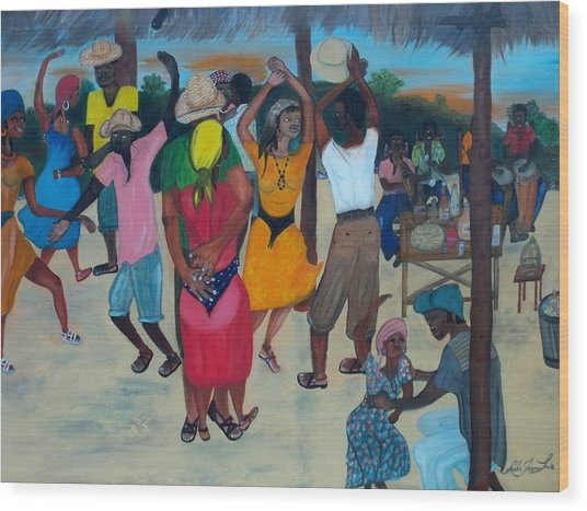 Village Dance Under The Pergola Wood Print
