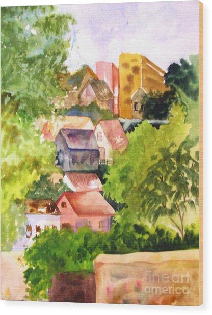 Village Hillside Wood Print by Sandi Stonebraker