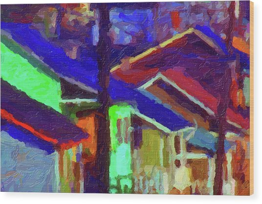 Village Houses Wood Print