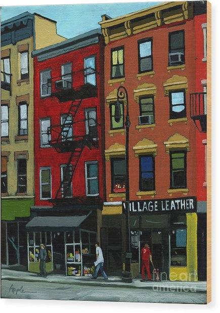 Village Leather - New York Cityscape Wood Print by Linda Apple