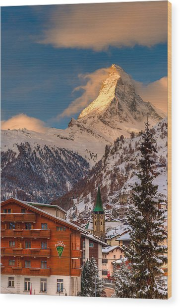 Village Of Zermatt With Matterhorn Wood Print