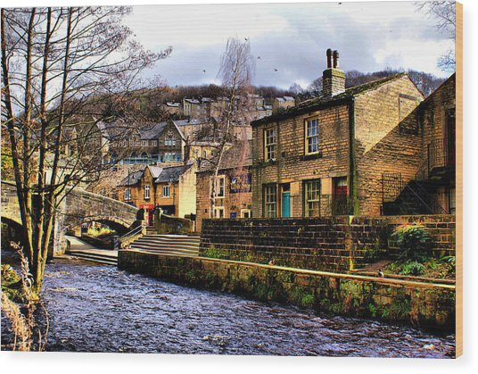 Village On The River Wood Print by Jacqui Kilcoyne