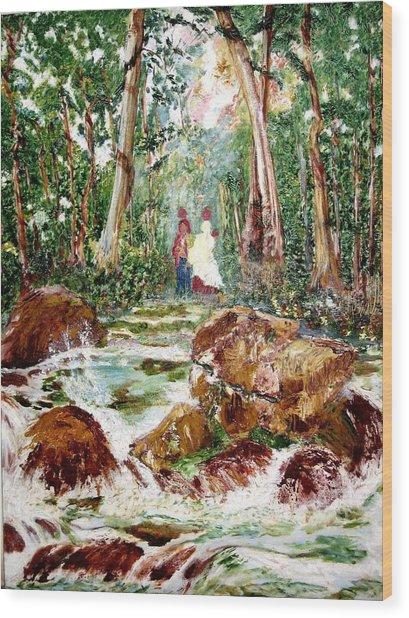 Village Stream Wood Print by Narayan Iyer