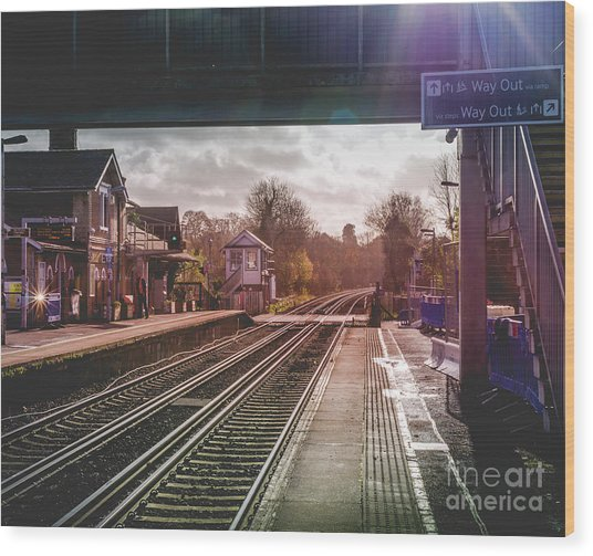 The Village Train Station Wood Print
