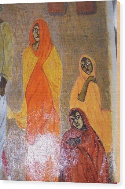 Village Women Wood Print by Sarika Hemane