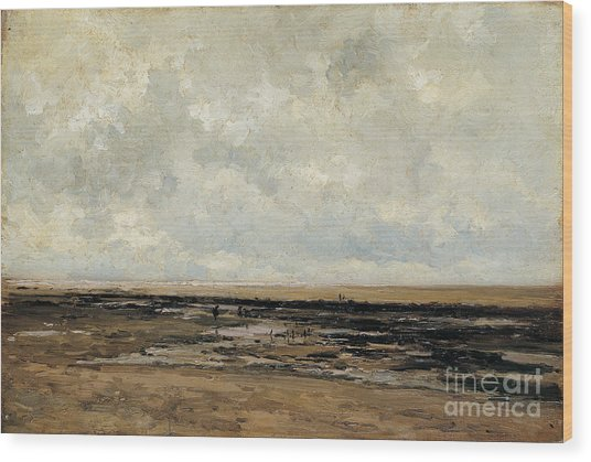Villerville Beach In Normandy Wood Print