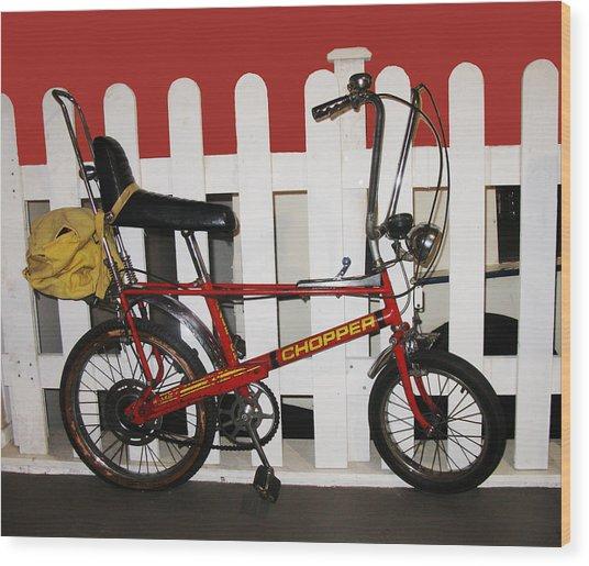 Vintage 1970s Bike With Rucksack  Wood Print