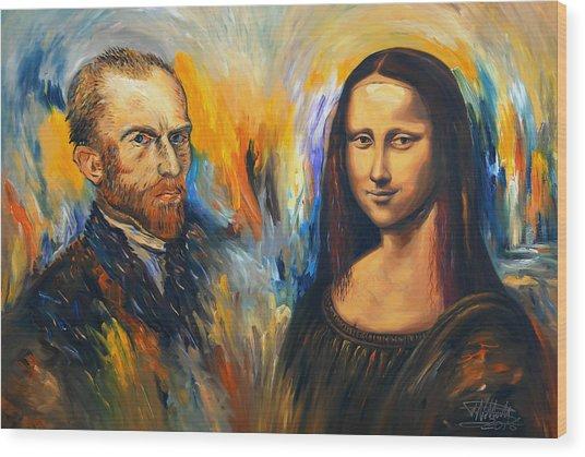 Vincent Meets Mona Lisa Xl 1 Wood Print by Peter Nottrott