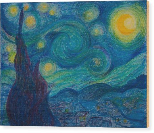 Vincent Starry Night Wood Print by Elena Soldatkina