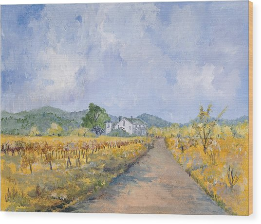 Vineyard Farmhouse Wood Print by Virginia McLaren
