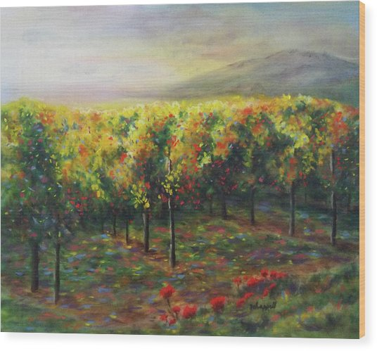 Vineyard Glow Wood Print