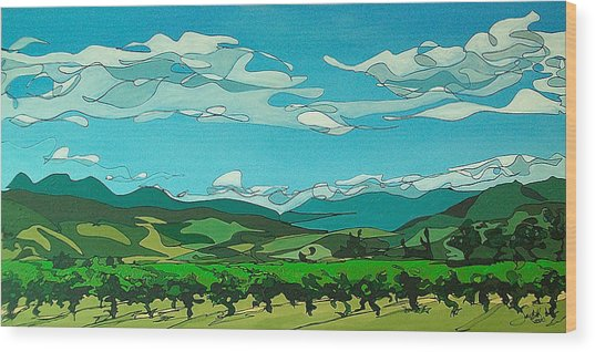 Vineyard Landscape Wood Print