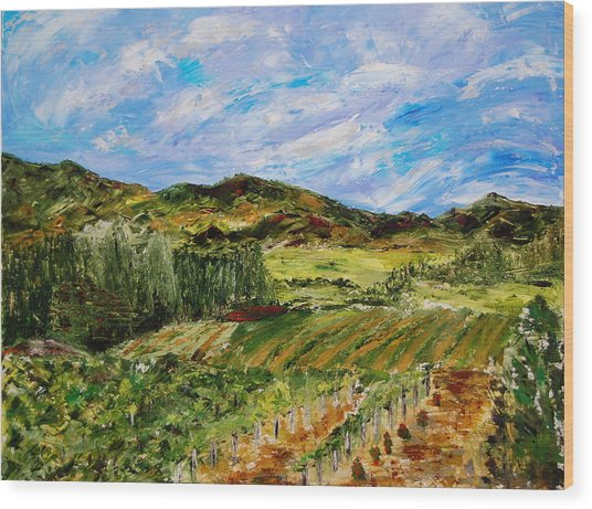 Vineyard Solitude Wood Print by Deborah Gall