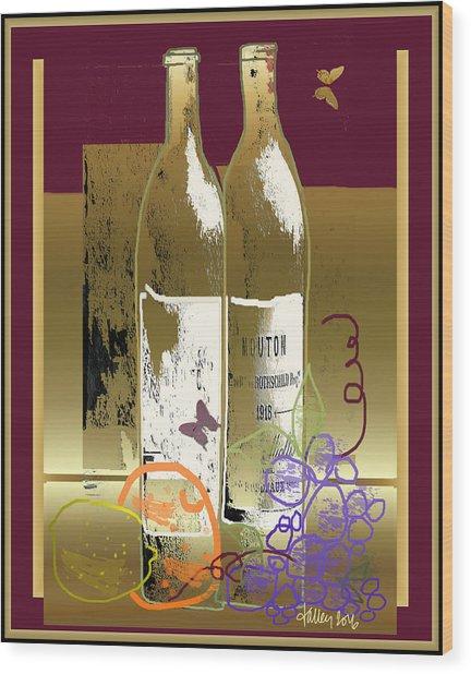 Vin, Fruit, Et Papillons Wood Print